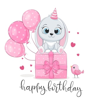 Happy birthday card with cute bunny with balloons and gift