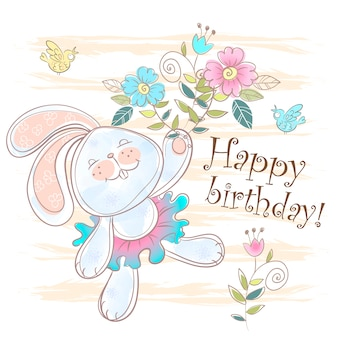 Happy birthday card with a cute bunny.