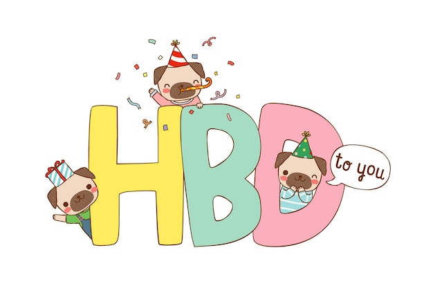 Happy birthday card with cute cartoon pugs in flat style