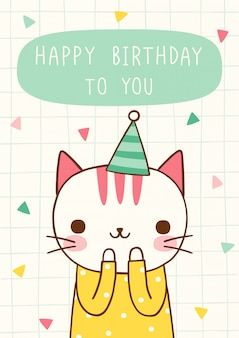 Happy birthday card with cute cat in flat style
