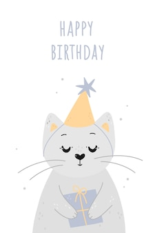 Happy birthday card with cute cat and gift