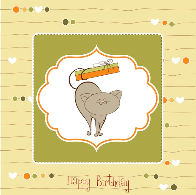 Happy birthday card with cute cat