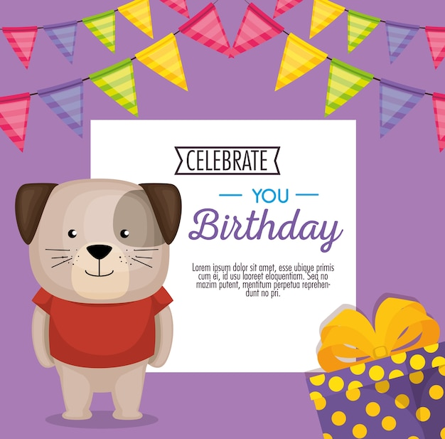 Happy birthday card with cute dog vector illustration design