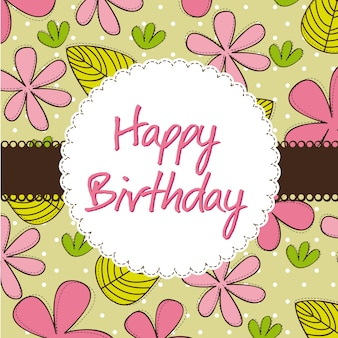 Happy birthday card with cute flowers vector illustration