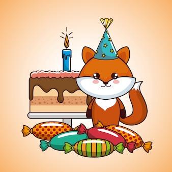 Happy birthday card with cute fox