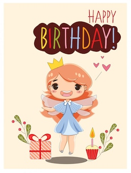 Happy birthday card with cute girl and gifts