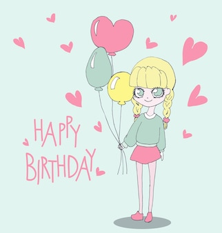 귀여운 소녀와 함께 생일 축 하 카드입니다. 생일 풍선을 들고 여자의 벡터 일러스트 레이 션