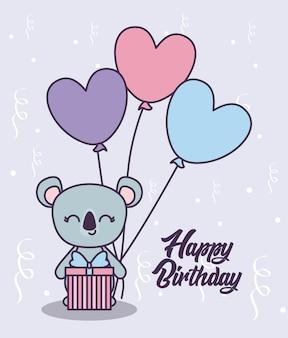 Happy birthday card with cute koala