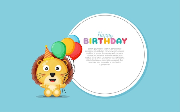 Happy birthday card with cute lion