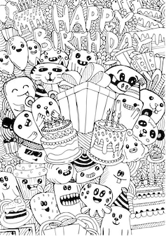 Happy birthday card with cute monsters in doodle style