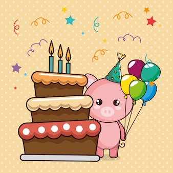 Happy birthday card with cute pig