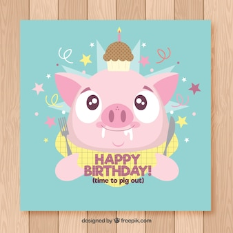 Happy birthday card with cute pork in flat style