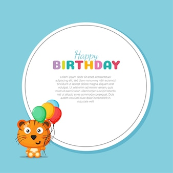 Happy birthday card with cute tiger