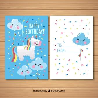 Scheda di buon compleanno con stile disegnato unicorno carino in mano