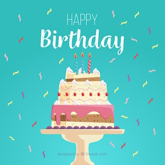 Happy birthday card with delicious cake