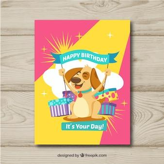 Scheda di buon compleanno con il cane in stile piano