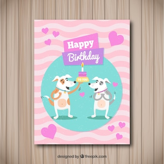 Happy birthday card with dogs in flat style