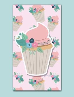 꽃 장식과 컵 케이크와 함께 생일 축하 카드