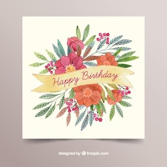 수채화 스타일에서 꽃과 함께 생일 축 하 카드