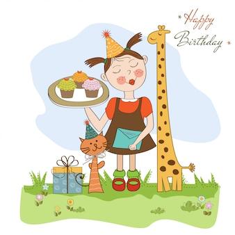 재미있는 여자와 함께 생일 축 하 카드