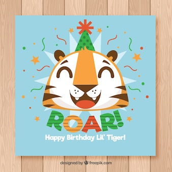 Happy birthday card with funny tiger in flat style