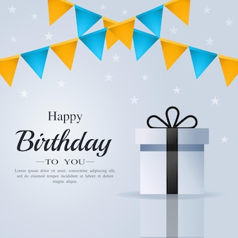 Happy birthday card with gift box and flag