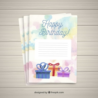 Happy birthday card with gifts box
