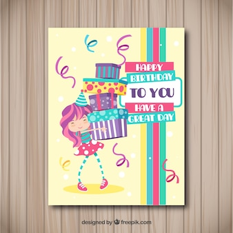 Happy birthday card with girl and presents in flat style