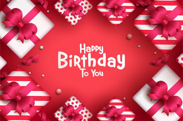 Happy birthday card with glowing gift boxes