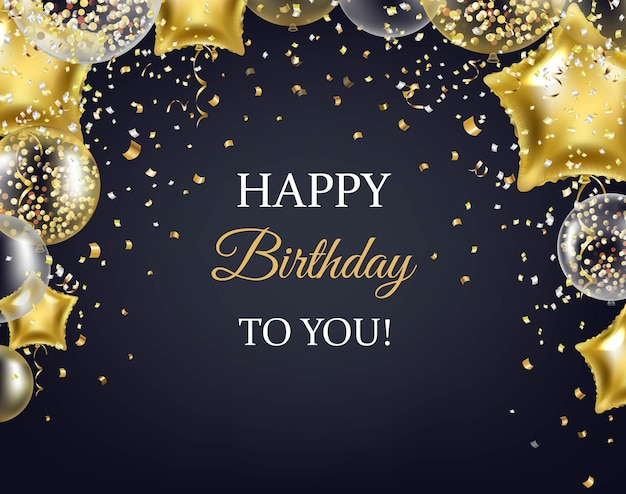 Happy birthday card with golden balloons