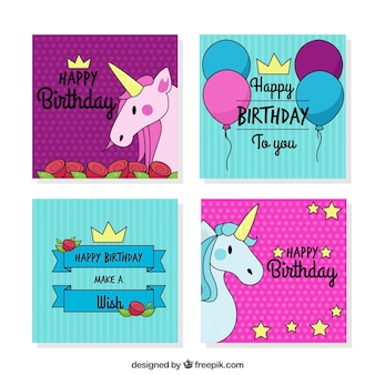 Happy birthday card with hand drawn unicorns