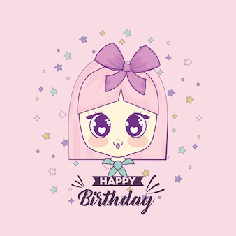 Happy birthday card with kawaii girl