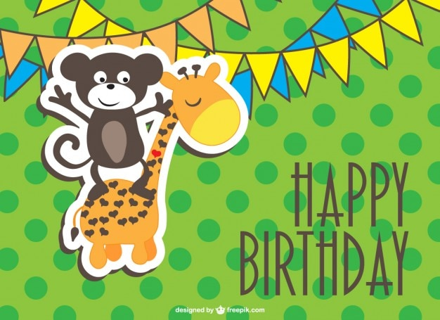 Happy Birthday Card With A Monkey And Giraffe Free Vector