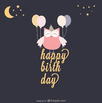 Happy birthday card with an owl and balloons