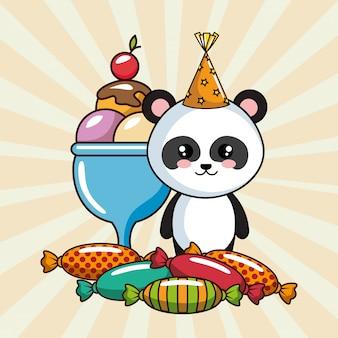 Happy birthday card with panda bear