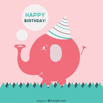 Happy birthday card with a pink elephant