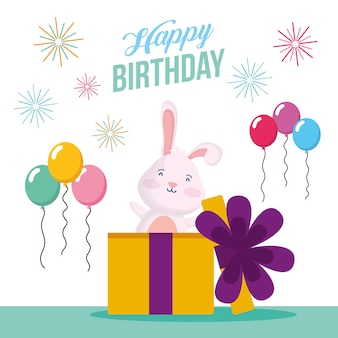 Happy birthday card with rabbit in gift and balloons helium scene vector illustration design