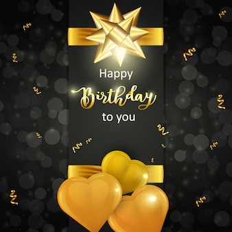 Happy birthday card with realistic golden heart shaped balloons and golden bow on dark background