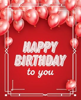 Happy birthday card with red balloons, confetti and white frame. vector illustration.
