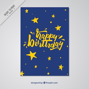 Happy birthday card with stars