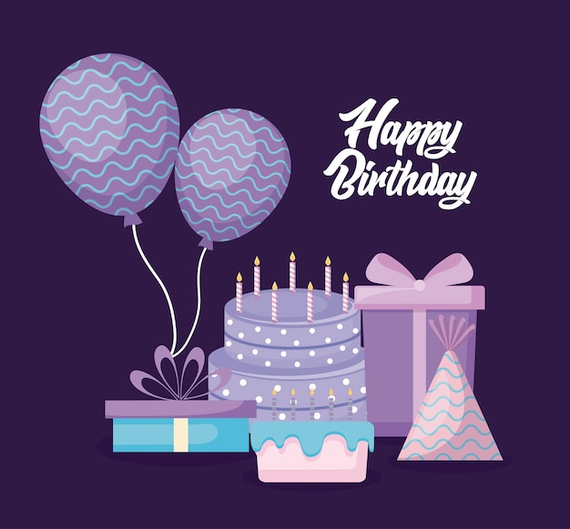Happy birthday card with sweet cake and set icons
