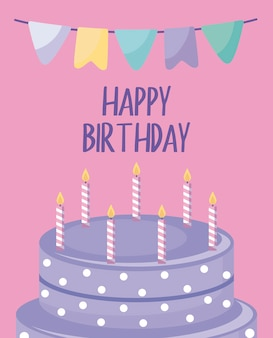 Happy birthday card with sweet cake