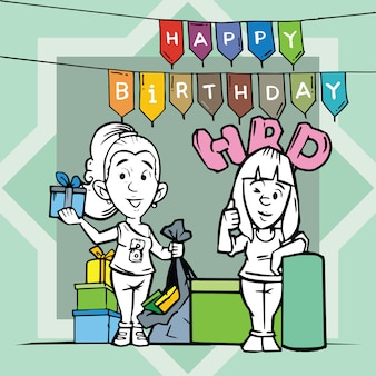 Happy birthday card with two girl cartoon character