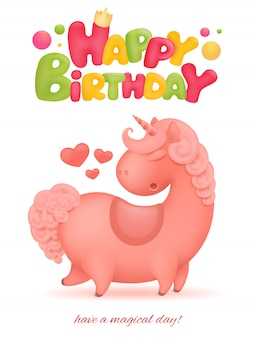 Happy birthday card with unicorn cartoon character.