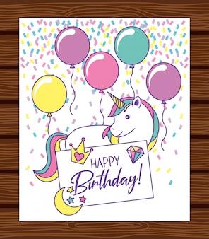 Happy birthday card with unicorn