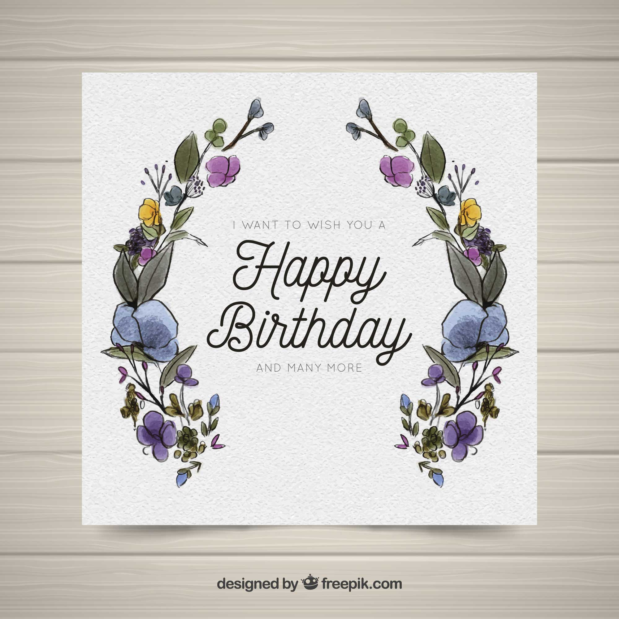 Happy birthday card with watercolor flowers