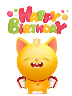 Happy birthday card with yellow emoji cat character.