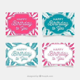 Happy birthday cards collection in flat style