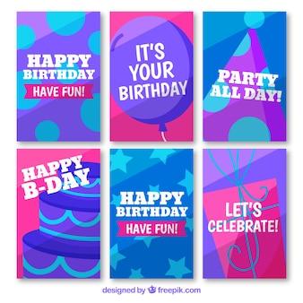 Коллекция поздравительных открыток с днем рождения в плоском стиле