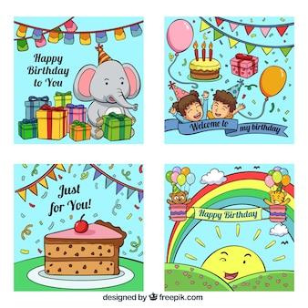 Коллекция поздравительных открыток с днем рождения в ручном стиле
